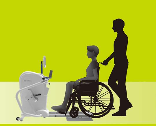Step2 車椅子をレールに沿って移動し車椅子固定ベルトで固定する。